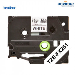 Cinta Brother flexible P-Touch BLANCO texto NEGRO 24mm | 8m