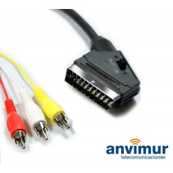 SCART TO 3 RCA CONNECTION, 2 M, in/out switch