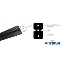 Flat Indoor FTTH Fibre Optic Cable spool, 1 fibre, Black