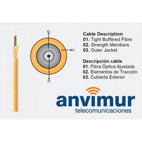 OPTRAL-LSZH-2F – CAS FTTH – kevlar + cubierta LSZH (2 tubos x 1 fibra)