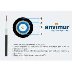 Cablescom-FVP-4 F – Fibra de vidrio y cubierta polietileno (1 tubo x 4 fibras)