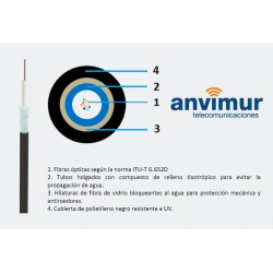 Cablescom-FVP-16 F – Fibra de vidrio y cubierta polietileno (1 tubo x 16 fibras)