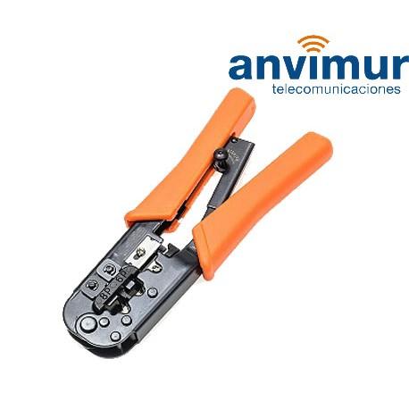 Crimpadora para conectores 4/6/8 vías con cortador pelador de cables