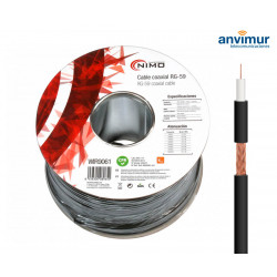 Cable Coaxial RG59 75 Ohm Carrete 100m. Negro