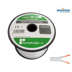Cable Audio 100mts BLANCO-BLANCO 2x1mm