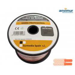 Cable Audio 100mts PARALELO TRANSPARENTE 2x1mm