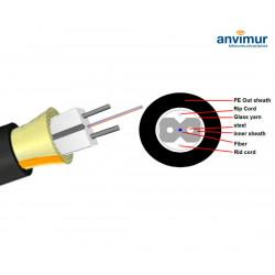 Bobina 2 fibras acometida reforzado con acero + PE exterior FTTH