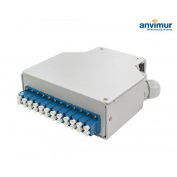 DIN terminal box with 12 LC/UPC Duplex ports