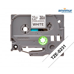 Adhesive Tape WHITE on BLACK text 8m