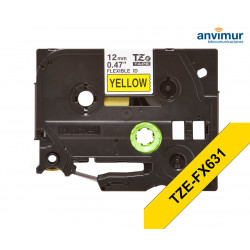 Adhesive Tape YELLOW on BLACK text 12mm