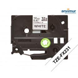 Flexible Tape WHITE on BLACK text 12mm