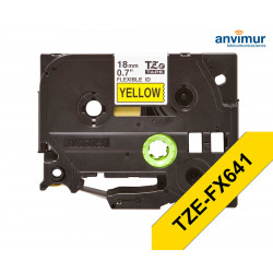 Flexible Tape YELLOW on BLACK text 18mm