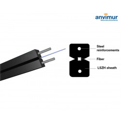 Flat Cable Coil 1 Fiber Black with Steel Reinforcement