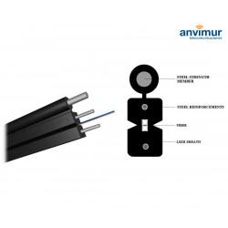 Bobina de Cable 2 fibras FTTH Plano + Fiador Acero, Negro