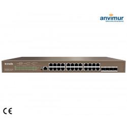 Switch 24 puertos Gigabits PoE con 4 puerto SFP | TENDA